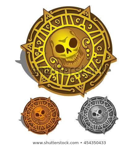 Gold Piraten Medaillon Goldmünzen Schädel Knochen Stock foto © Supertrooper