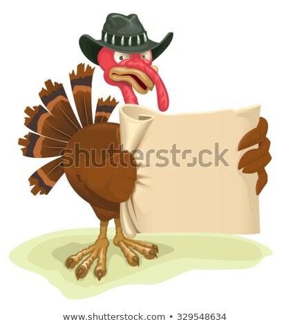 Turquía aves hoja pergamino Cartoon Foto stock © orensila