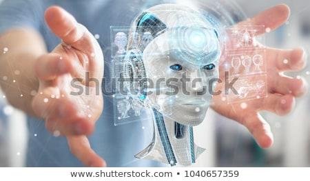 женщину робота искусственный интеллект технологий Blue Sky небе Сток-фото © ankarb