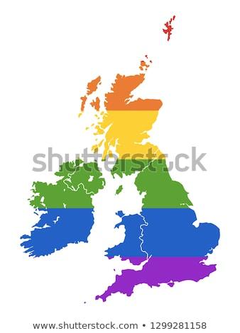 Homo kaart Verenigd Koninkrijk land trots vlag Stockfoto © tony4urban