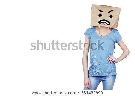 Composite image of woman with hands on hip and covering head wit Stock photo © wavebreak_media