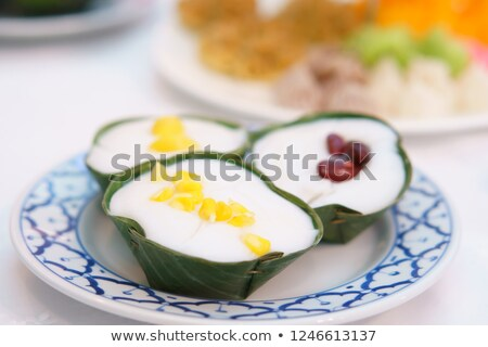 Thai pudding with coconut topping and red bean Stock photo © art9858