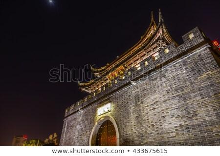 Su kanal tapınak Çin gece bir Stok fotoğraf © billperry