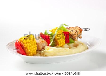 Grillezett csemegekukorica krumpli edény étel ebéd Stock fotó © Digifoodstock
