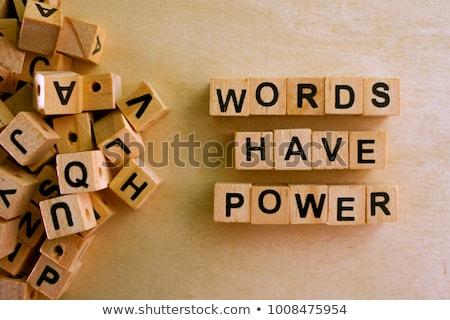 単語 · 電源 · 木製のテーブル · 文字 · 子 · 背景 - ストックフォト © fuzzbones0