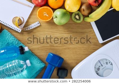 Fogyókúra fa asztal szó iroda gyermek oktatás Stock fotó © fuzzbones0