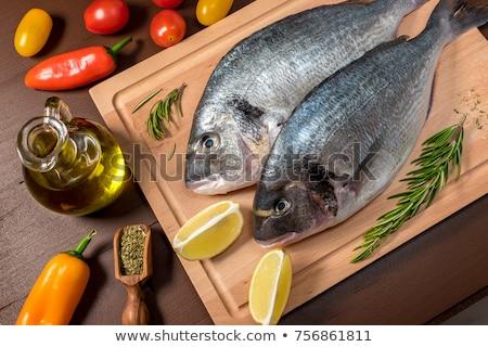 魚 · まな板 · レモン · スライス · 食品 · 火災 - ストックフォト © digifoodstock