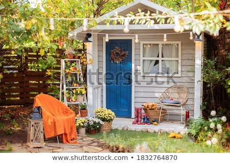 A wooden porch with plants Stock photo © bluering