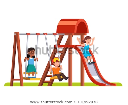 Scene with wooden swing in the park Stock photo © bluering