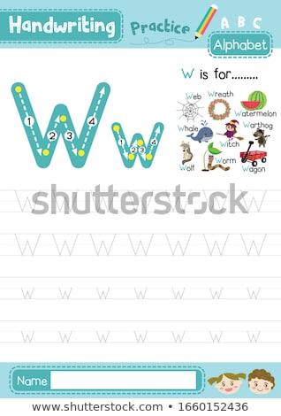 Letra w baleia ilustração crianças criança fundo Foto stock © bluering