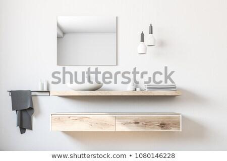 белый · плиточные · туалет · фотография · туалет · зеркало - Сток-фото © luissantos84