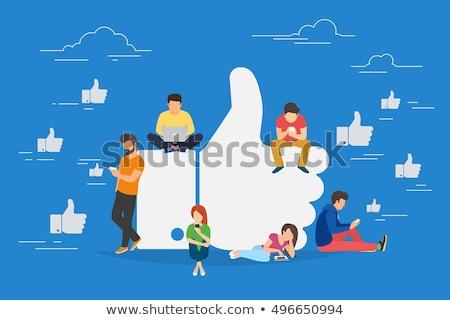 vektör · beyaz · web · sosyal · medya · düğmeler · simgeler - stok fotoğraf © rastudio