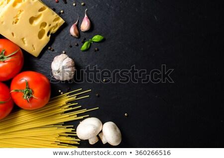 zwarte · champignons · heerlijk · rustiek · houten · tafel · top - stockfoto © deandrobot