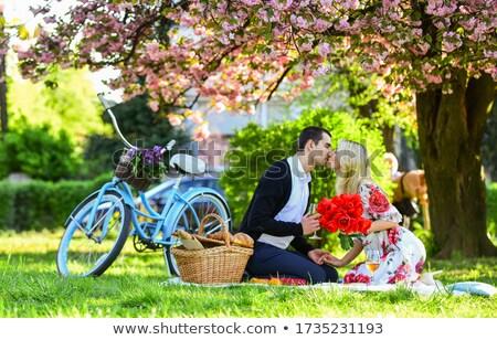 ślub · para · trawy · piękna · odkryty - zdjęcia stock © tekso