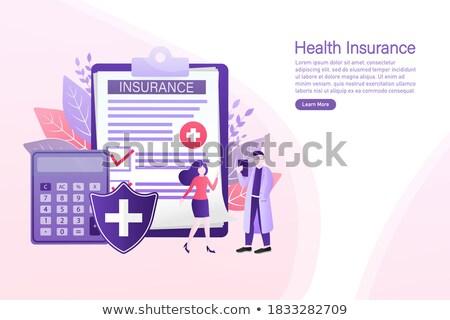 presse-papiers · assurance · 3d · illustration · bureau · autour - photo stock © tashatuvango