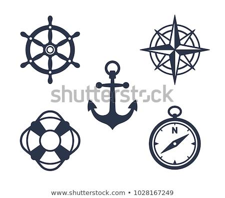 Morski ikona odizolowany zestaw czarny powrót Zdjęcia stock © ratkom