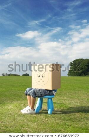 Fiatal srác zsámoly doboz fej gyermek fiú Stock fotó © IS2
