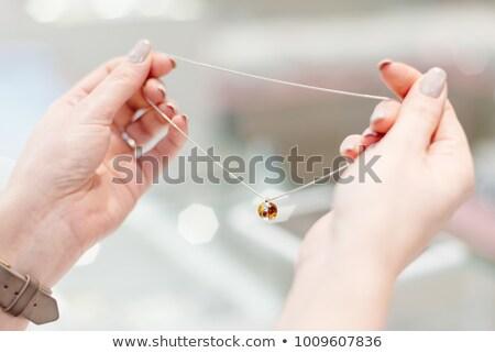 Prata colar âmbar elegante decorado miçanga Foto stock © blackmoon979