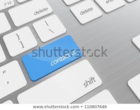 キーボード · 青 · ボタン · 私達について · オフィス · 連絡 - ストックフォト © tashatuvango