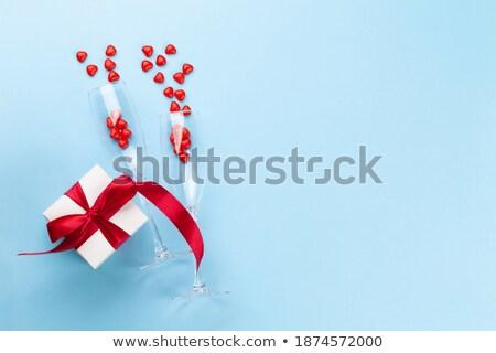 iki · şeker · kalpler · ahşap · kırmızı · düğün - stok fotoğraf © alex9500