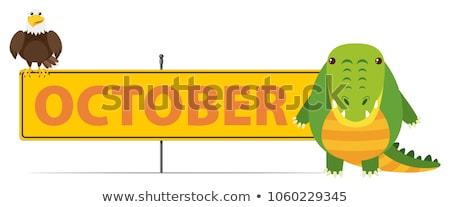 Sign template for October with crocodile Stock photo © bluering