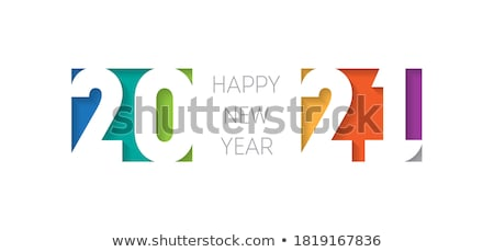 New year paper greeting card, vector illustration. stock photo © kup1984
