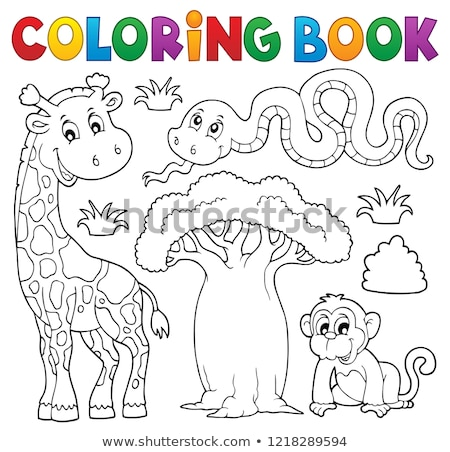 Coloring book African thematics set 1 Stock photo © clairev