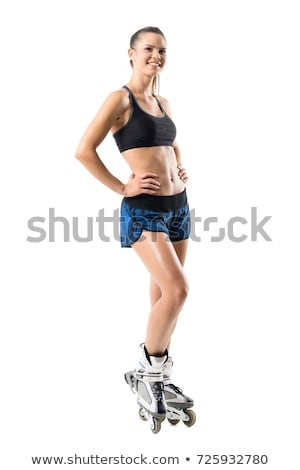 Laughing young sportswoman Stock photo © deandrobot