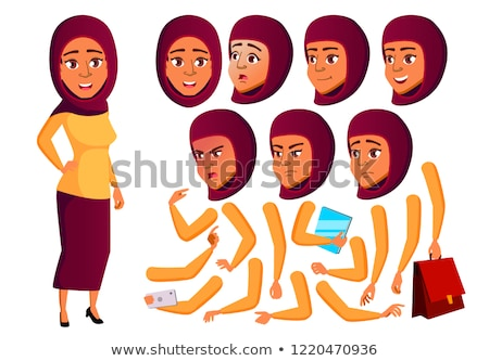 Teen Girl Poses Set Vector. Arab, Muslim. Active, Expression. For Presentation, Print, Invitation De Stock photo © pikepicture