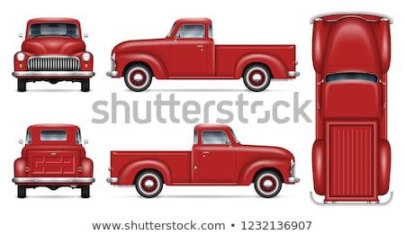 Classic red pickup truck vector mockup Stock photo © YuriSchmidt