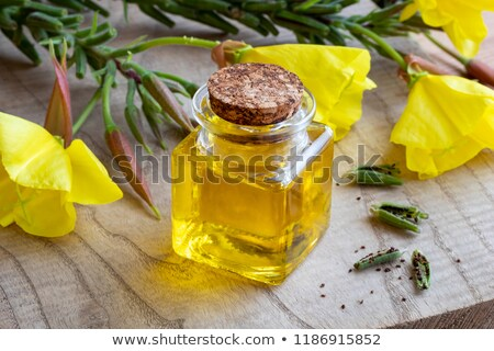 Stock photo: Evening Primrose Oil With Evening Primrose Flowers And Seeds