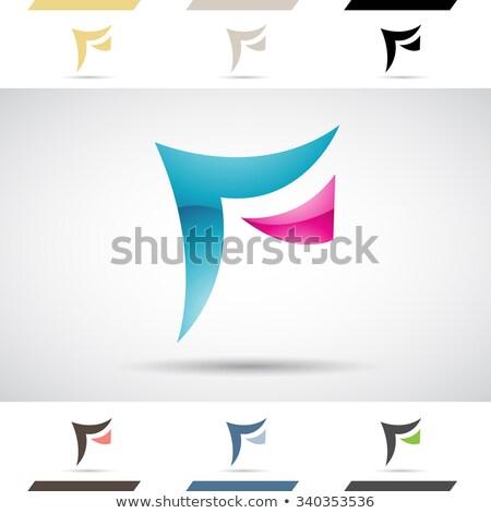Magenta geométrico letra f vetor ilustração Foto stock © cidepix