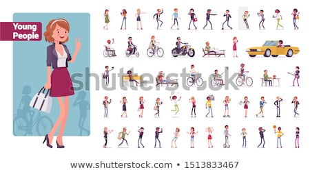 Teenager Young Male People in Park Set Vector Stock photo © robuart