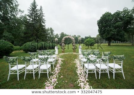 結婚披露宴 · 装飾 · 細部 · 花 · 表 · 白 - ストックフォト © ruslanshramko