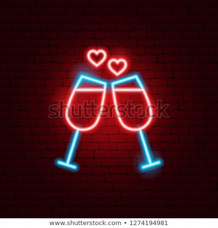 Sevmek içecekler neon alkol tanıtım parti Stok fotoğraf © Anna_leni