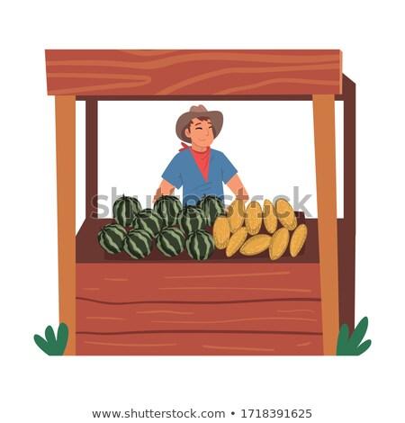 Stock photo: Fresh fruit on wooden stall