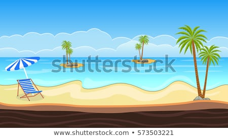 Beach scene with coconut trees on land Stock photo © colematt