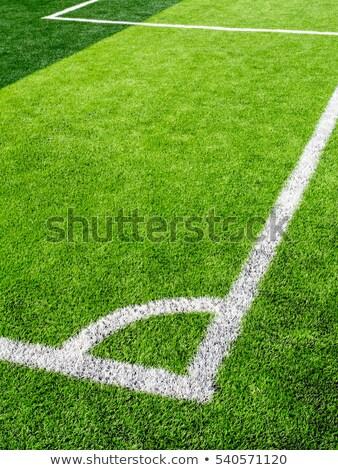 Coin terrain de football herbe artificielle blanche ligne herbe Photo stock © nuttakit