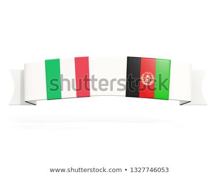 Afiş iki kare bayraklar İtalya Afganistan Stok fotoğraf © MikhailMishchenko