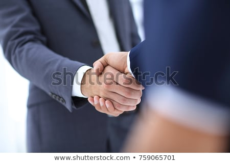 negotiating business two confident business man shaking hands w stock photo © snowing