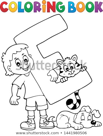 Stock photo: Coloring book boy and pets by letter E