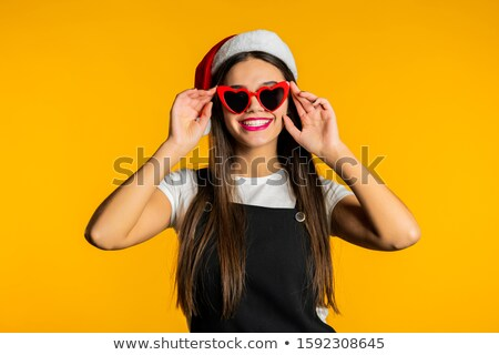 blonde woman in long red dress festive hat boxes stock photo © robuart