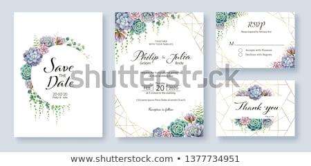 Zaproszenie na ślub karty kwiat dekoracji charakter ramki Zdjęcia stock © SArts