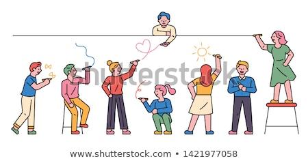 Persoon illustratie ingesteld ruw schets cute Stockfoto © Blue_daemon