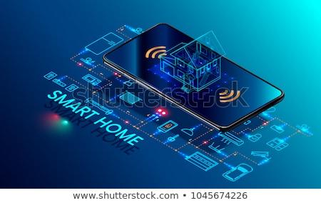Handen smart home iconen automatisering Stockfoto © dolgachov