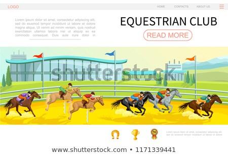 люди верховая езда верхом Скачки вектора спортивных Сток-фото © robuart