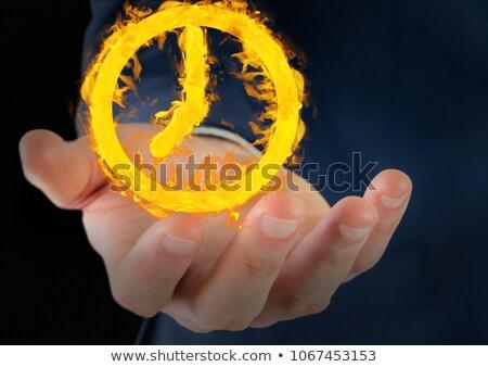 Mão relógio fogo ícone preto composição digital Foto stock © wavebreak_media