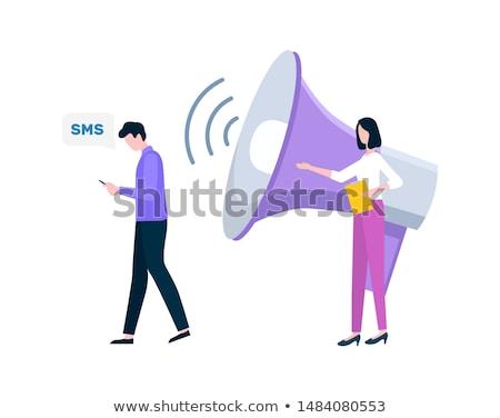 Férfi olvas sms nő vektor emberek Stock fotó © robuart