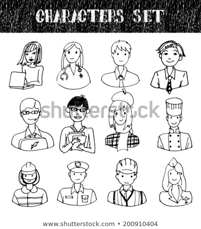 Hand drawn sketch fireman Stock photo © netkov1