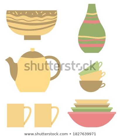 Argila jarra feito à mão vetor vaso Foto stock © robuart